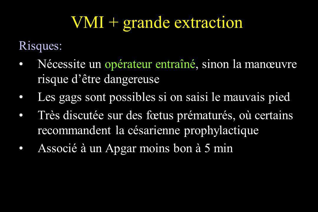 VMI + grande extraction Risques: Nécessite un opérateur entraîné, sinon la manœuvre risque dêtre dangereuse Les gags sont possibles si on saisi le mau