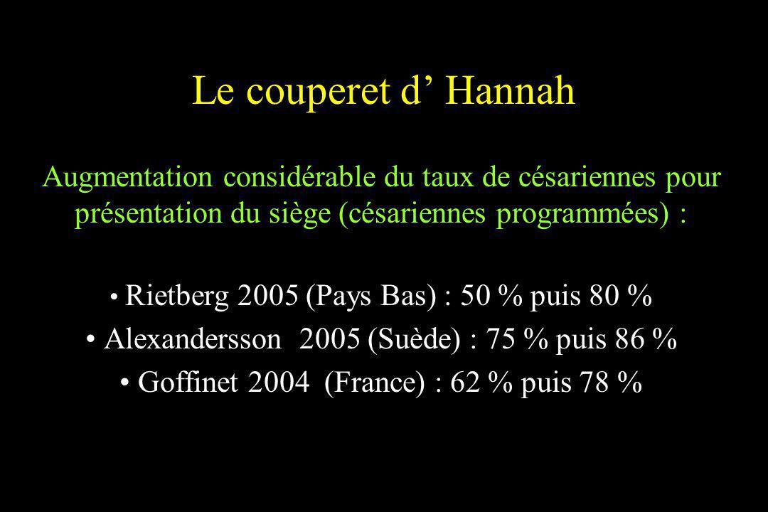 Le couperet d Hannah Augmentation considérable du taux de césariennes pour présentation du siège (césariennes programmées) : Rietberg 2005 (Pays Bas)