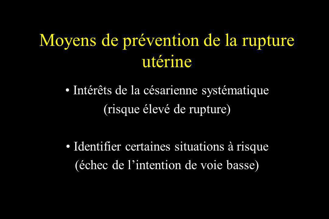 Moyens de prévention de la rupture utérine Intérêts de la césarienne systématique (risque élevé de rupture) Identifier certaines situations à risque (