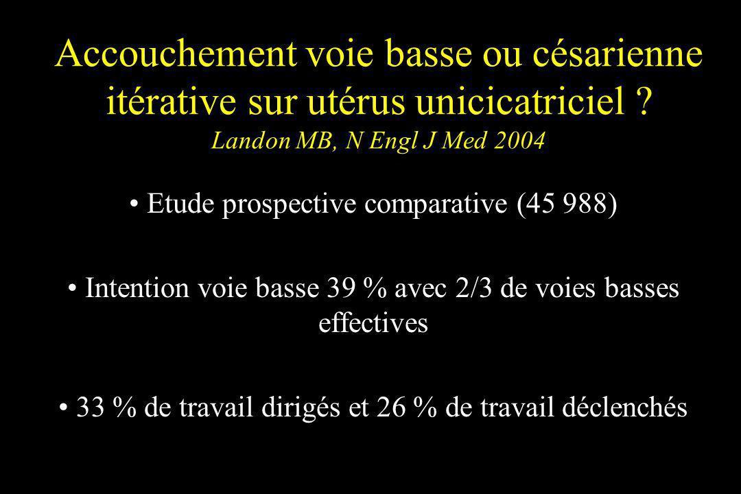 Accouchement voie basse ou césarienne itérative sur utérus unicicatriciel ? Landon MB, N Engl J Med 2004 Etude prospective comparative (45 988) Intent