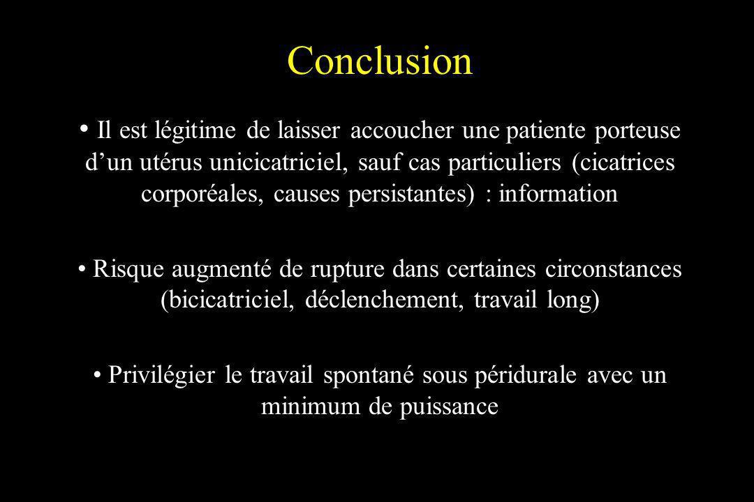 Conclusion Il est légitime de laisser accoucher une patiente porteuse dun utérus unicicatriciel, sauf cas particuliers (cicatrices corporéales, causes