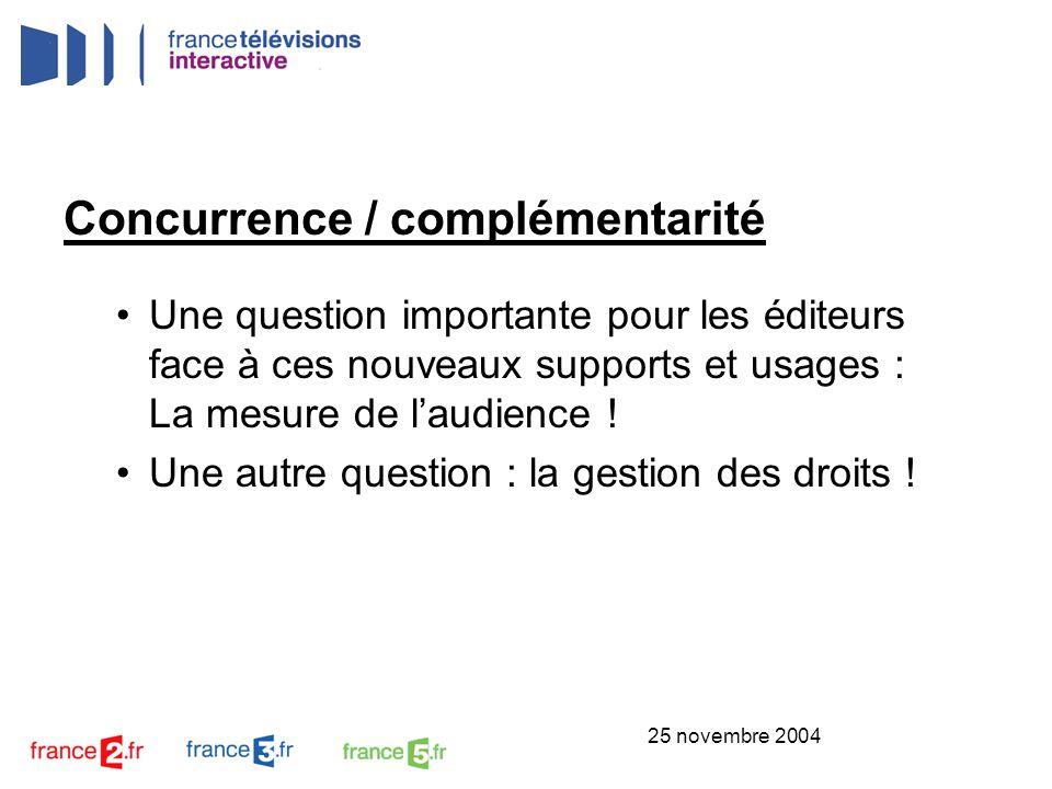 25 novembre 2004 Concurrence / complémentarité Une question importante pour les éditeurs face à ces nouveaux supports et usages : La mesure de laudien