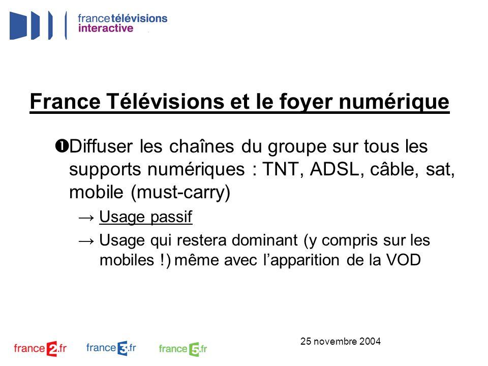 25 novembre 2004 France Télévisions et le foyer numérique Distribuer à la demande (VOD / TVOD) les contenus « forts » des chaînes via les réseaux le permettant ou via PVR Usage actif Programmes classiques en TV sur ADSL ou PVR Programmes courts sur les mobiles (usages fréquents mais de durées courtes) Dans la plupart des cas, lévénements TV fera lévénement VOD / TVOD