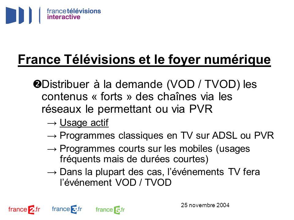 25 novembre 2004 France Télévisions et le foyer numérique Utiliser les capacités des réseaux numériques (« quasi-illimitées et quasi-gratuites ») pour créer des chaînes événementielles : Evénements sportifs (Roland Garros, Jeux Olympiques, Coupe de la Ligue, etc.) Evénements culturels (festivals de musique)