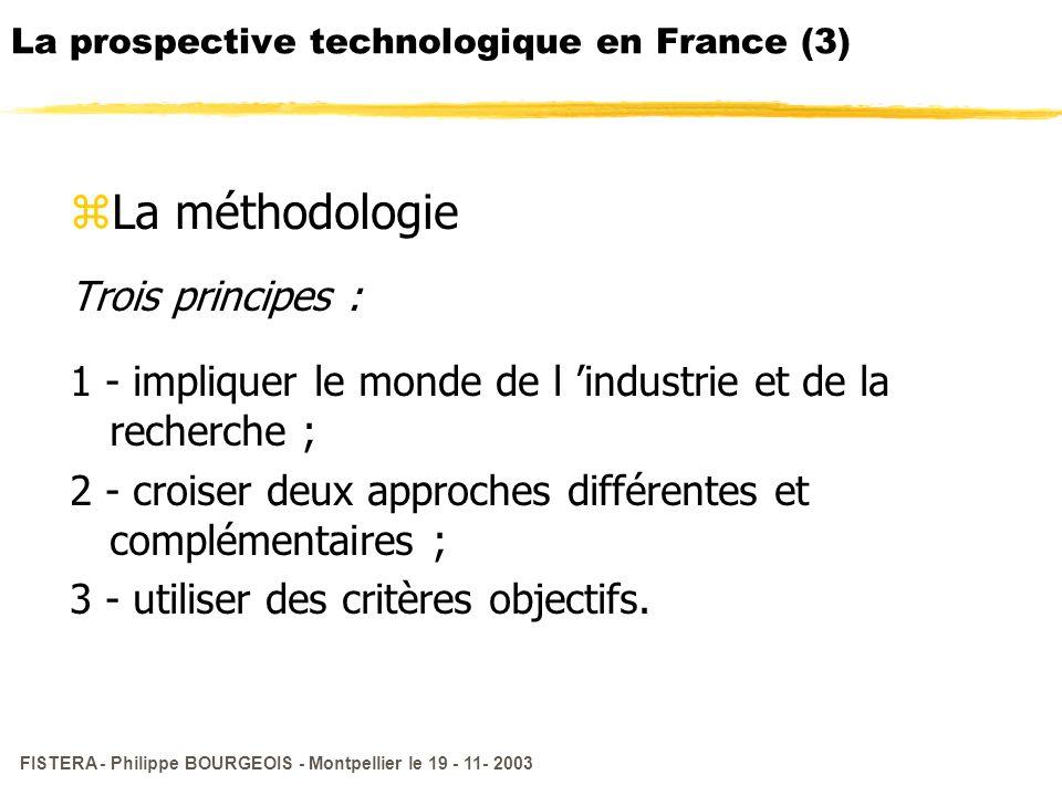 FISTERA - Philippe BOURGEOIS - Montpellier le 19 - 11- 2003 La prospective technologique en France (3) zLa méthodologie Trois principes : 1 - implique