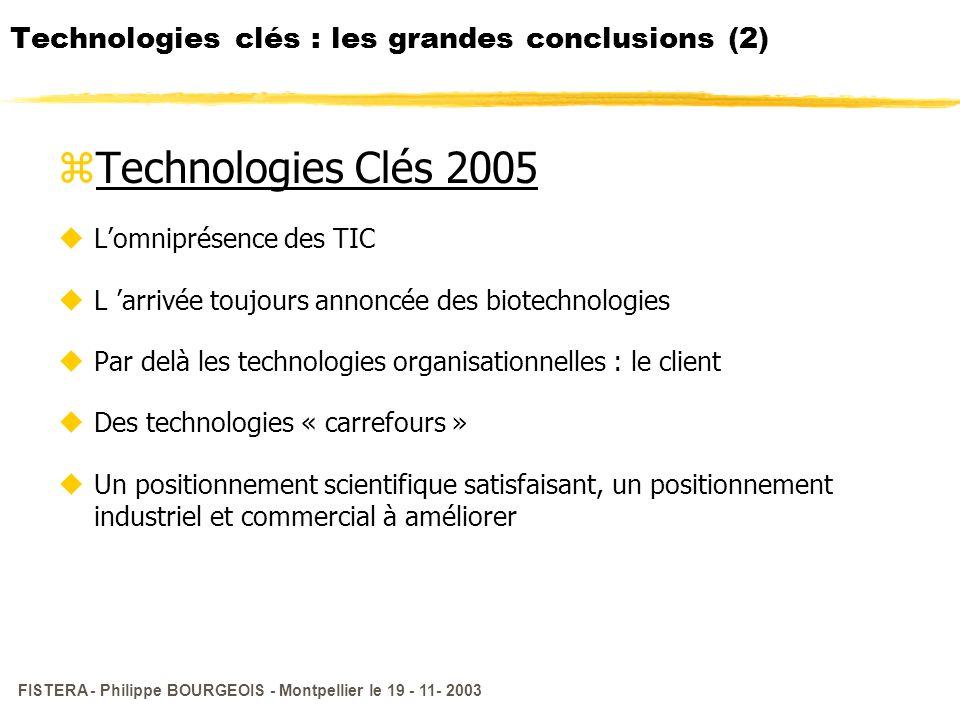FISTERA - Philippe BOURGEOIS - Montpellier le 19 - 11- 2003 Technologies clés : les grandes conclusions (2) zTechnologies Clés 2005 uLomniprésence des