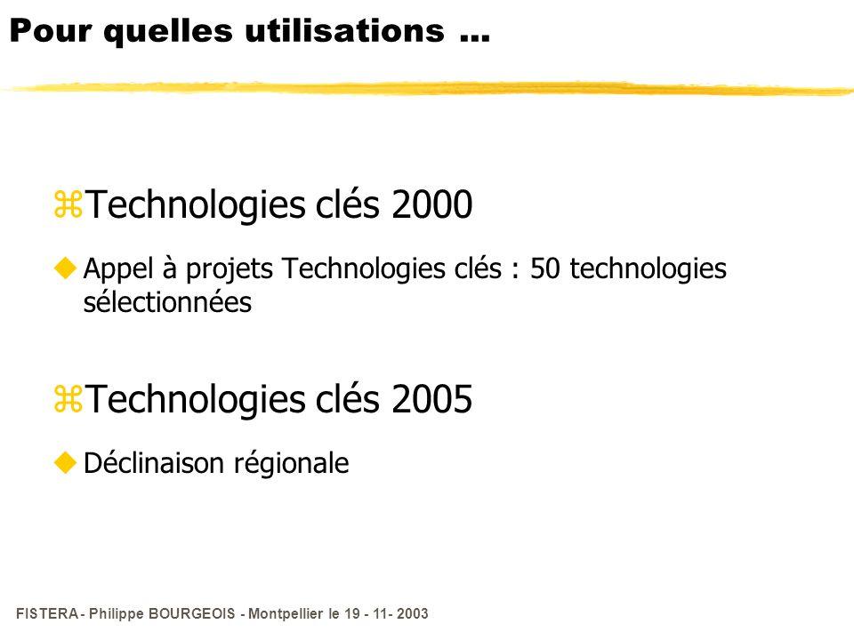 FISTERA - Philippe BOURGEOIS - Montpellier le 19 - 11- 2003 Pour quelles utilisations... zTechnologies clés 2000 uAppel à projets Technologies clés :