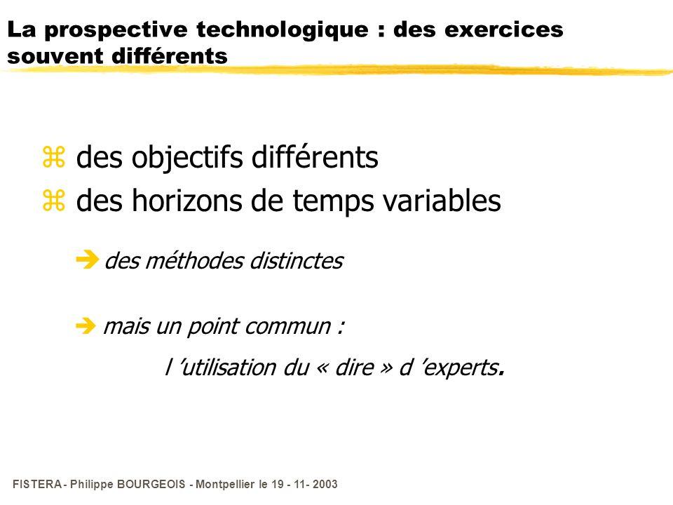 FISTERA - Philippe BOURGEOIS - Montpellier le 19 - 11- 2003 La prospective technologique : des exercices souvent différents z des objectifs différents