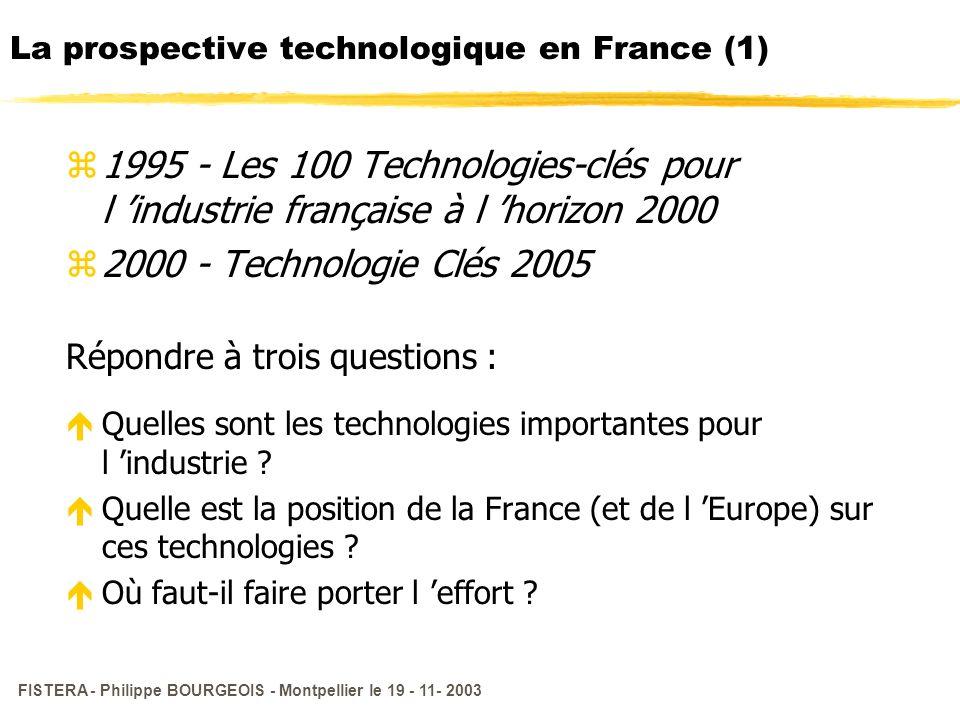 FISTERA - Philippe BOURGEOIS - Montpellier le 19 - 11- 2003 La prospective technologique en France (1) z1995 - Les 100 Technologies-clés pour l indust