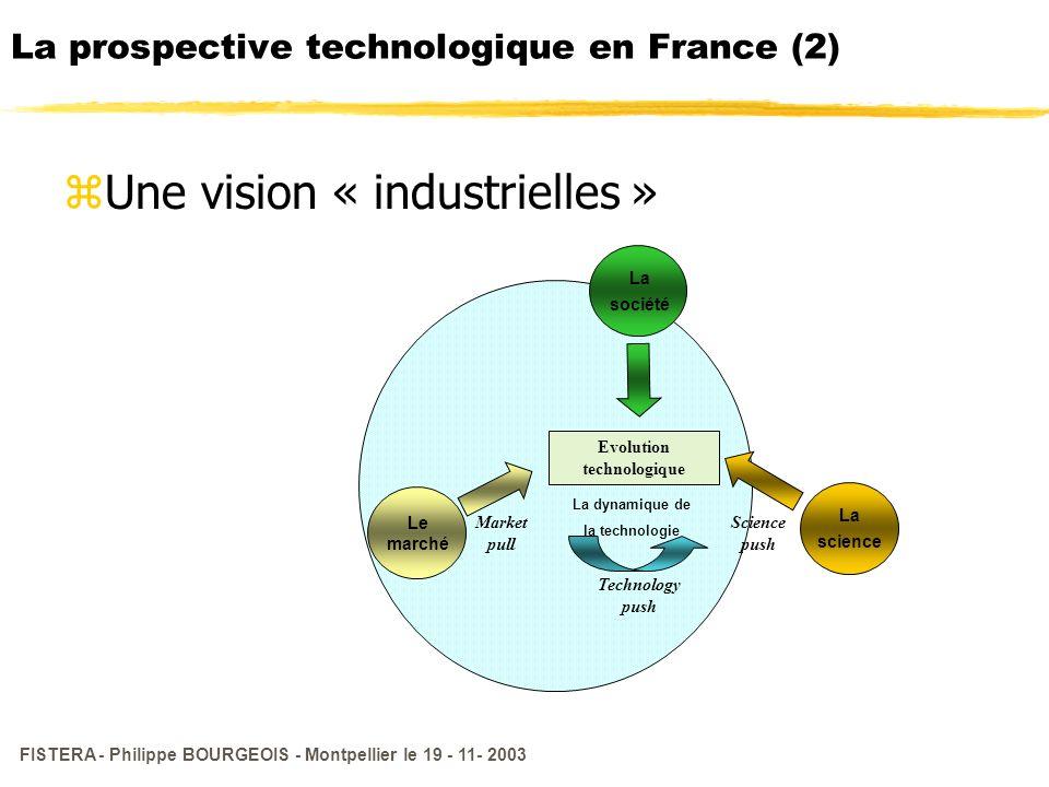 FISTERA - Philippe BOURGEOIS - Montpellier le 19 - 11- 2003 La prospective technologique en France (2) zUne vision « industrielles » Evolution technol