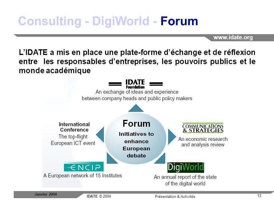 IDATE © 2004 www.idate.org 13 Présentation & Activités Janvier 2004 Consulting - DigiWorld - Forum LIDATE a mis en place une plate-forme déchange et d