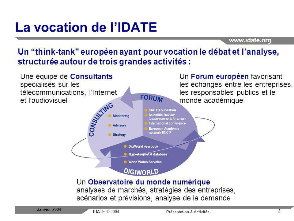 IDATE © 2004 www.idate.org 3 Présentation & Activités Janvier 2004 Présentations de lIDATE : les clients France Asie Amérique du Nord Afrique / Moyen Orient Europe Autorités publiques Régulateurs, Ministères, la Commission européenne, les organisations internationales, collectivités locales, etc.