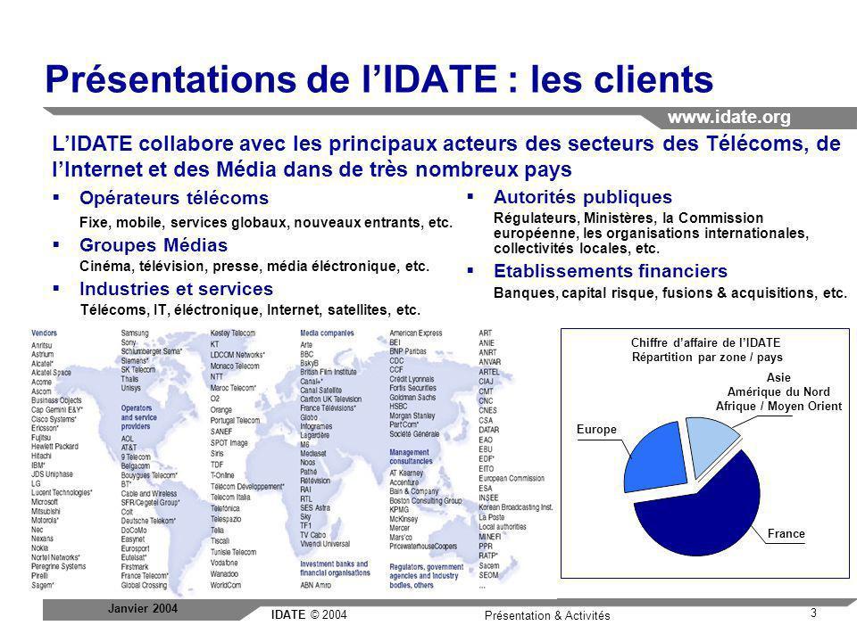 IDATE © 2004 www.idate.org 3 Présentation & Activités Janvier 2004 Présentations de lIDATE : les clients France Asie Amérique du Nord Afrique / Moyen