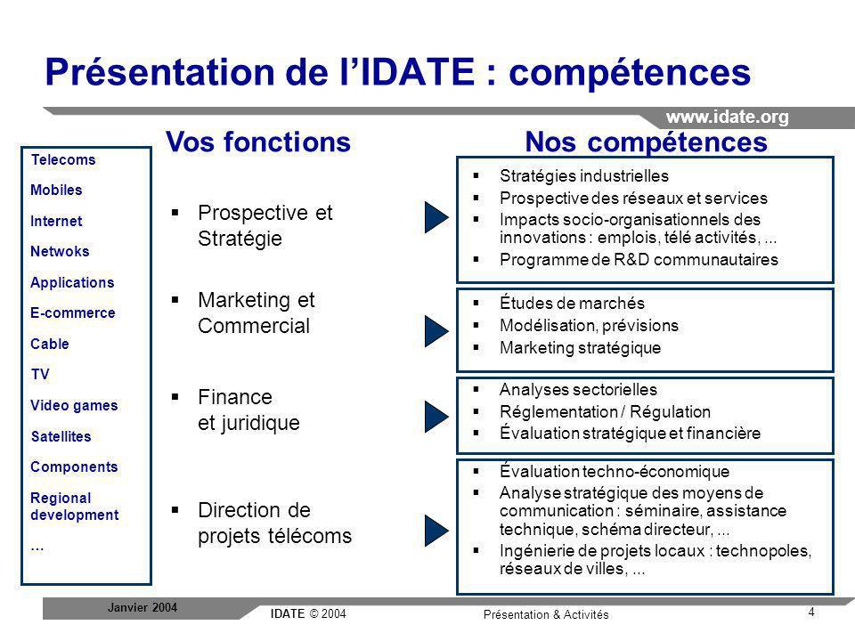 IDATE © 2004 www.idate.org 15 Présentation & Activités Janvier 2004 Consulting - DigiWorld - Forum: Les Journées Internationales de lIDATE Les Journées Internationales de l IDATE se sont imposées depuis plus de 25 ans, comme un lieu unique en Europe pour prendre la mesure des changements à l œuvre dans les domaines des technologies de l information.