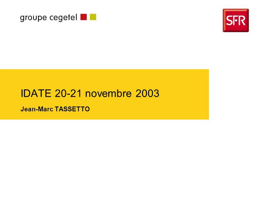 Journées de l Idate - 20-21 novembre 2003 UTILISATEUR REGULIER ACTIF EQUIPE / NON UTILISATEUR Cycle de vie 3M PRESCRIPTEUR EQUIPE 3M Valeur Découverte Réactivation Éviter le churn Fidélisation … dautant plus que nos clients équipés 3M deviennent prescripteurs 2.