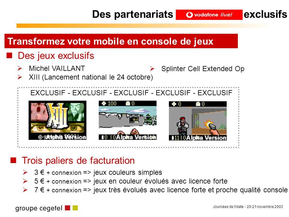 Journées de l'Idate - 20-21 novembre 2003 Des partenariats exclusifs Transformez votre mobile en console de jeux Des jeux exclusifs Michel VAILLANT XI