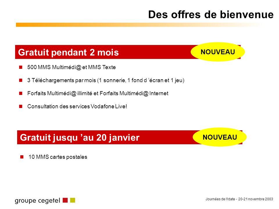 Journées de l'Idate - 20-21 novembre 2003 Des offres de bienvenue 500 MMS Multimédi@ et MMS Texte 3 Téléchargements par mois (1 sonnerie, 1 fond d écr