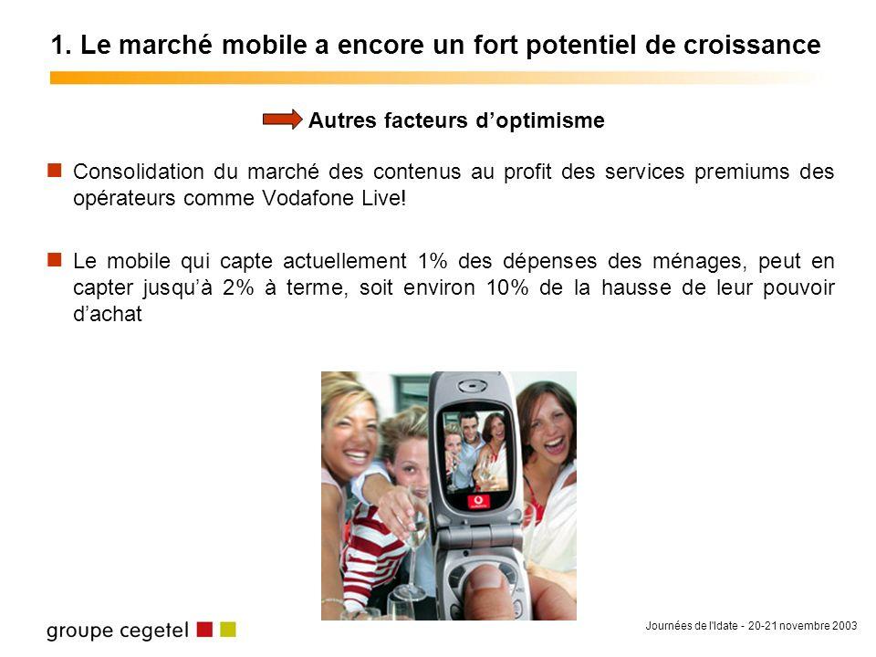 Journées de l'Idate - 20-21 novembre 2003 1. Le marché mobile a encore un fort potentiel de croissance Consolidation du marché des contenus au profit