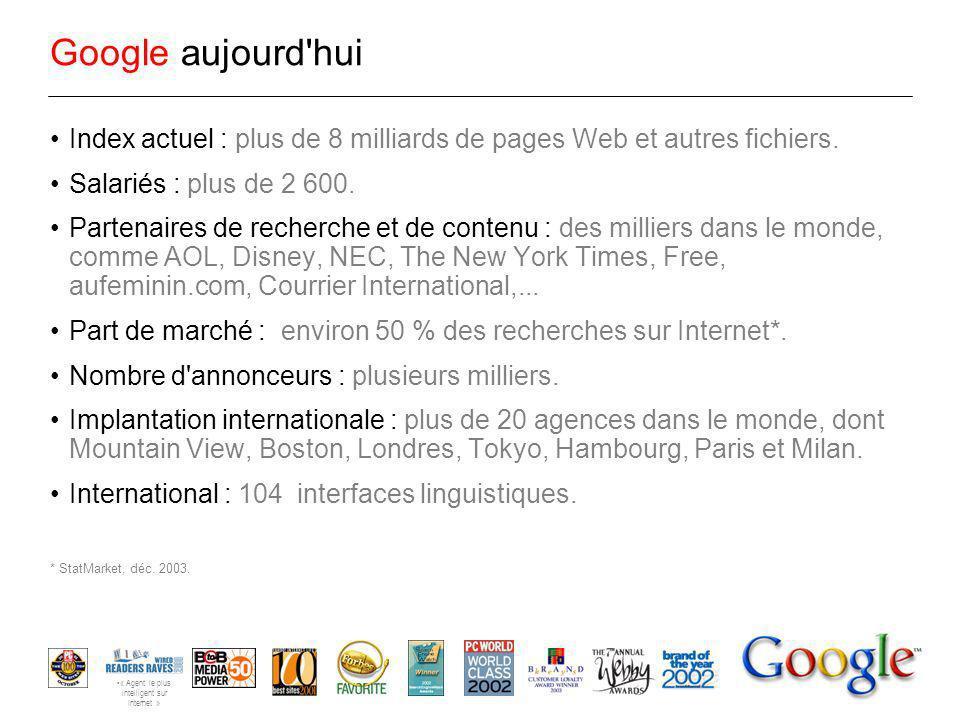 Avantage concurrentiel : Technologie Infrastructure des recherches sur le Web Travail + passion...