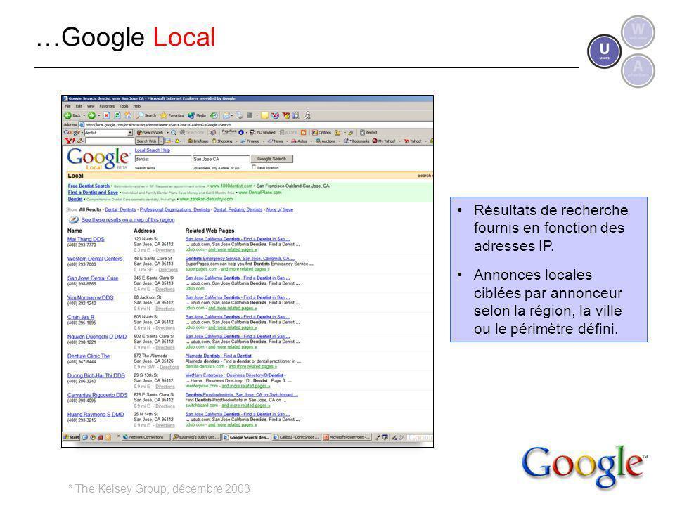 …Google Local Résultats de recherche fournis en fonction des adresses IP.