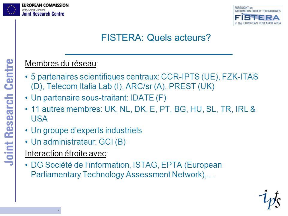 2 Membres du réseau: 5 partenaires scientifiques centraux: CCR-IPTS (UE), FZK-ITAS (D), Telecom Italia Lab (I), ARC/sr (A), PREST (UK) Un partenaire sous-traitant: IDATE (F) 11 autres membres: UK, NL, DK, E, PT, BG, HU, SL, TR, IRL & USA Un groupe dexperts industriels Un administrateur: GCI (B) Interaction étroite avec: DG Société de linformation, ISTAG, EPTA (European Parliamentary Technology Assessment Network),… FISTERA: Quels acteurs