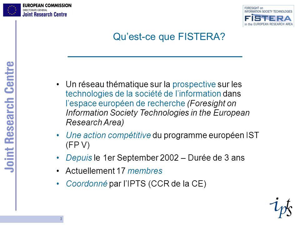 4 Buts: Mettre en commun dune manière la plus large possible les acteurs et éléments clés des exercises nationaux de prospective Afin de pouvoir contribuer à la préparation du FP7 (en particulier en ce qui concerne le programme IST).