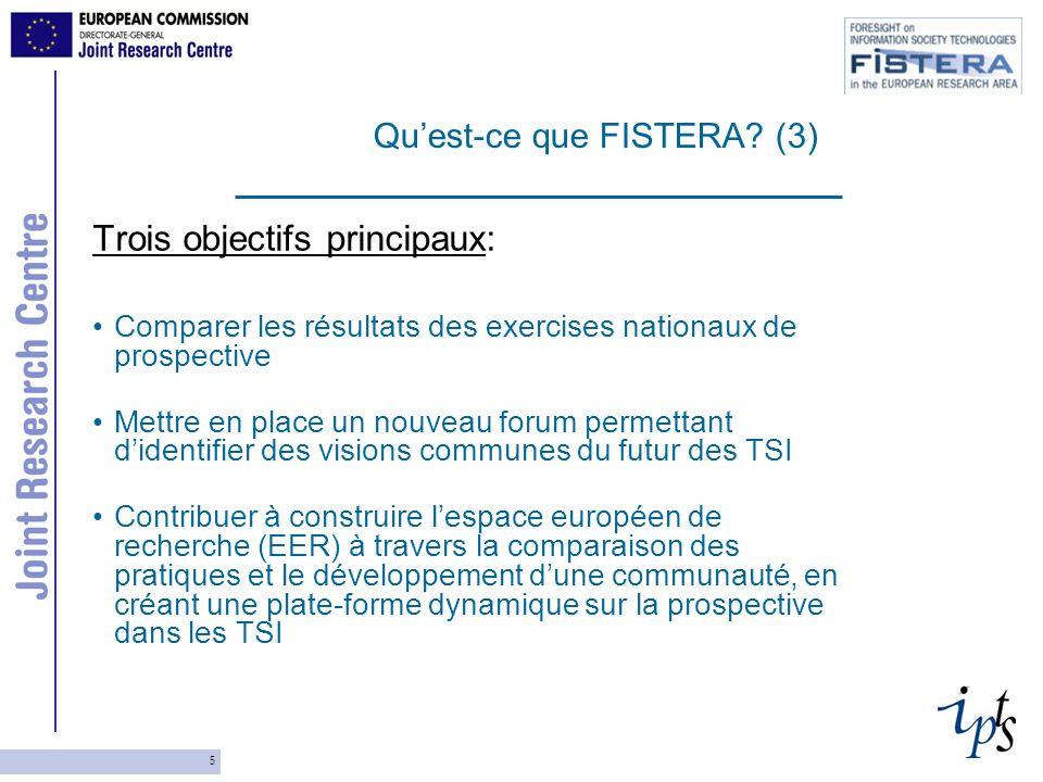 5 Trois objectifs principaux: Comparer les résultats des exercises nationaux de prospective Mettre en place un nouveau forum permettant didentifier de