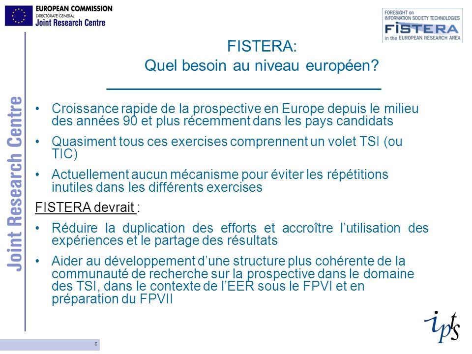 6 FISTERA: Quel besoin au niveau européen? Croissance rapide de la prospective en Europe depuis le milieu des années 90 et plus récemment dans les pay