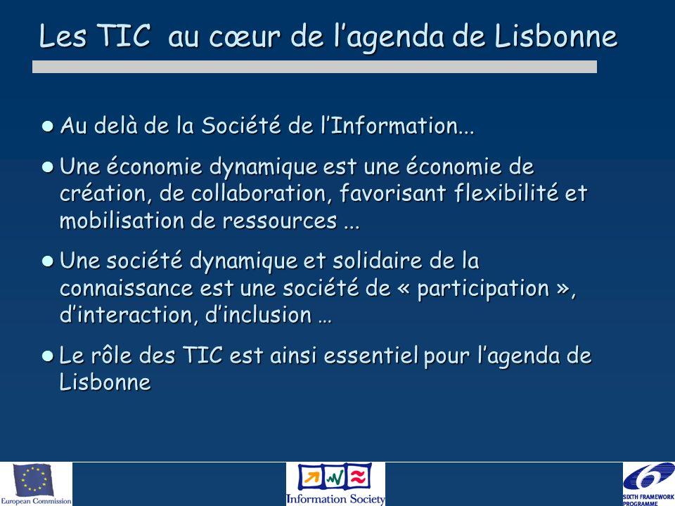 Les TIC au cœur de lagenda de Lisbonne Au delà de la Société de lInformation... Au delà de la Société de lInformation... Une économie dynamique est un