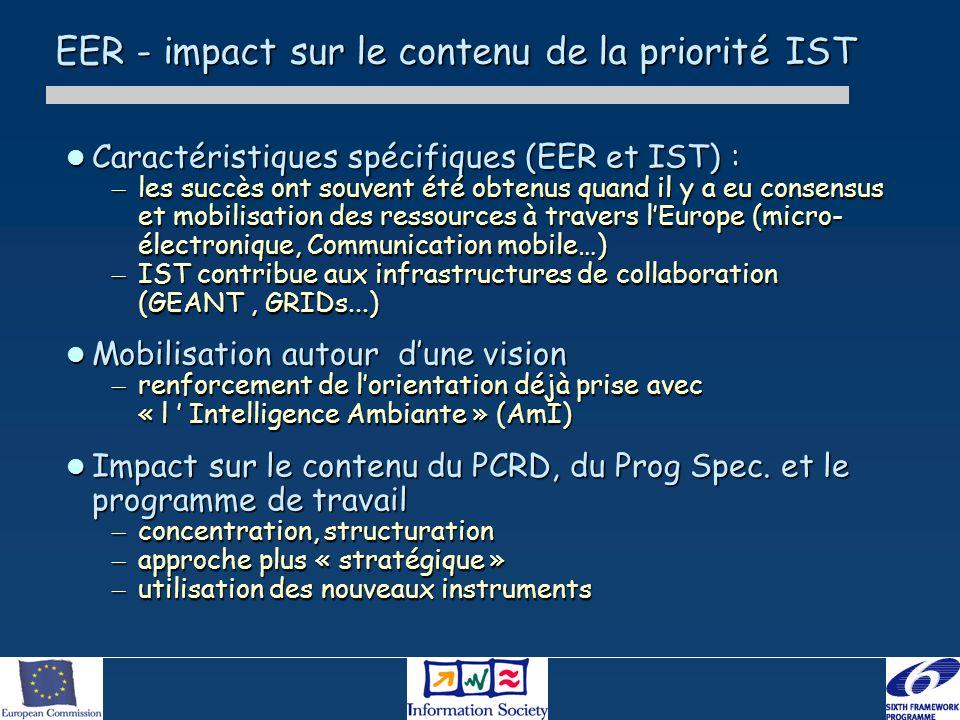 EER - impact sur le contenu de la priorité IST Caractéristiques spécifiques (EER et IST) : Caractéristiques spécifiques (EER et IST) : – les succès on