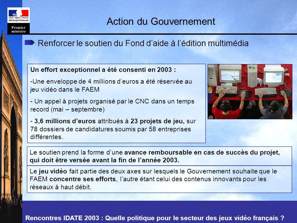 Rencontres IDATE 2003 : Quelle politique pour le secteur des jeux vidéo français .