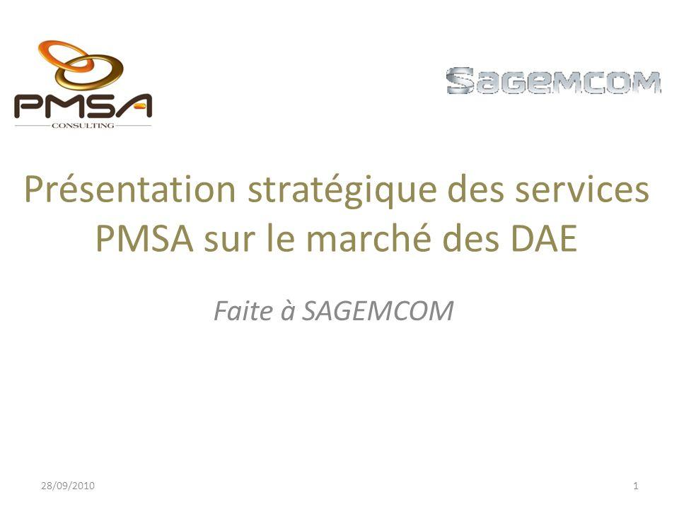 Présentation stratégique des services PMSA sur le marché des DAE Faite à SAGEMCOM 28/09/20101