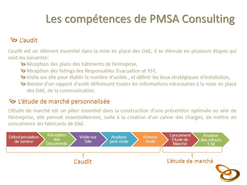 11 Les compétences de PMSA Consulting Laudit Laudit est un élément essentiel dans la mise en place des DAE, il se déroule en plusieurs étapes qui sont