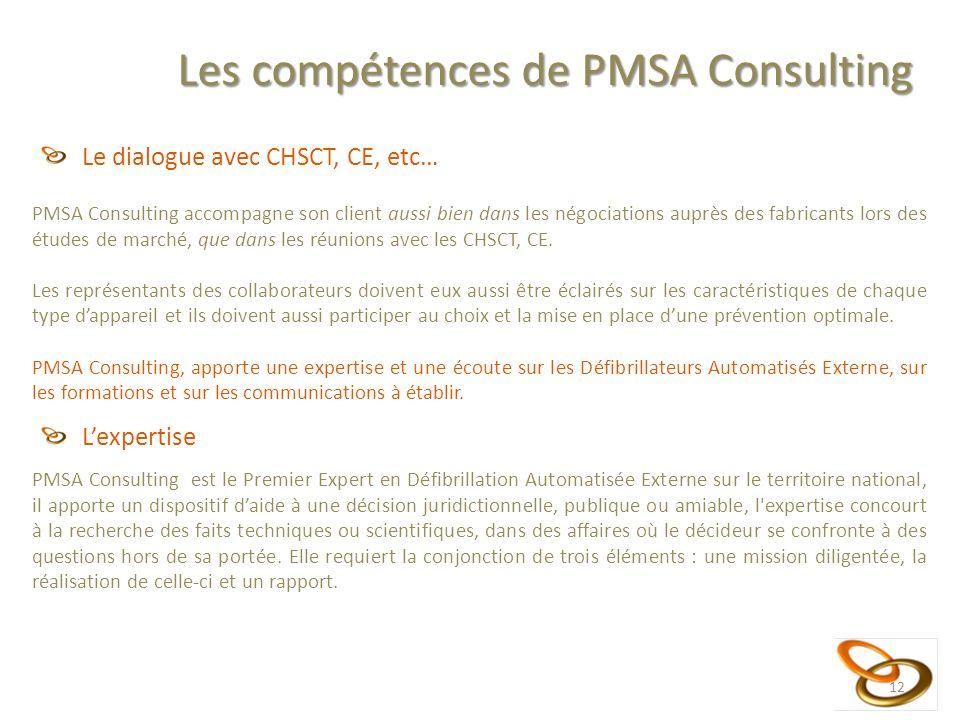12 Les compétences de PMSA Consulting Le dialogue avec CHSCT, CE, etc… PMSA Consulting accompagne son client aussi bien dans les négociations auprès des fabricants lors des études de marché, que dans les réunions avec les CHSCT, CE.