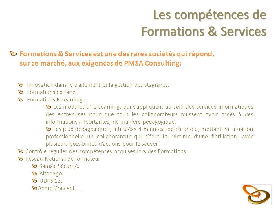 14 Les compétences de Formations & Services Formations & Services est une des rares sociétés qui répond, sur ce marché, aux exigences de PMSA Consulti