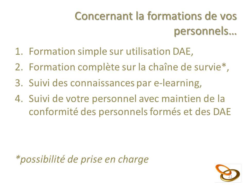 Concernant la formations de vos personnels… 1.Formation simple sur utilisation DAE, 2.Formation complète sur la chaîne de survie*, 3.Suivi des connais
