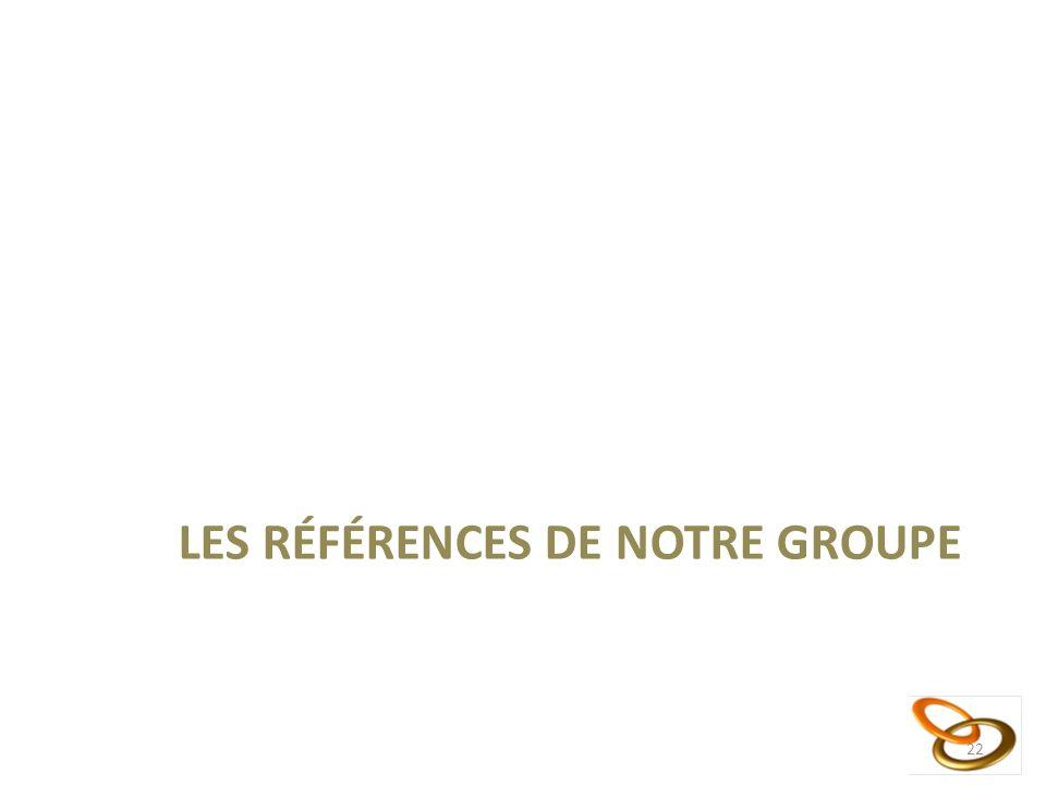 LES RÉFÉRENCES DE NOTRE GROUPE 22