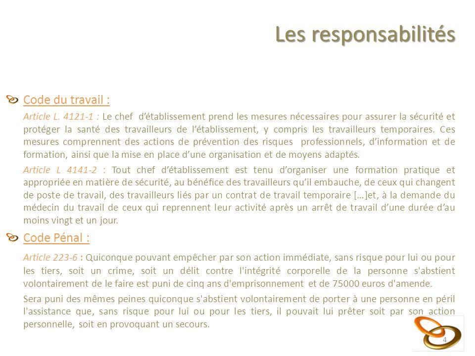 Les responsabilités Code du travail : Article L. 4121-1 : Le chef détablissement prend les mesures nécessaires pour assurer la sécurité et protéger la