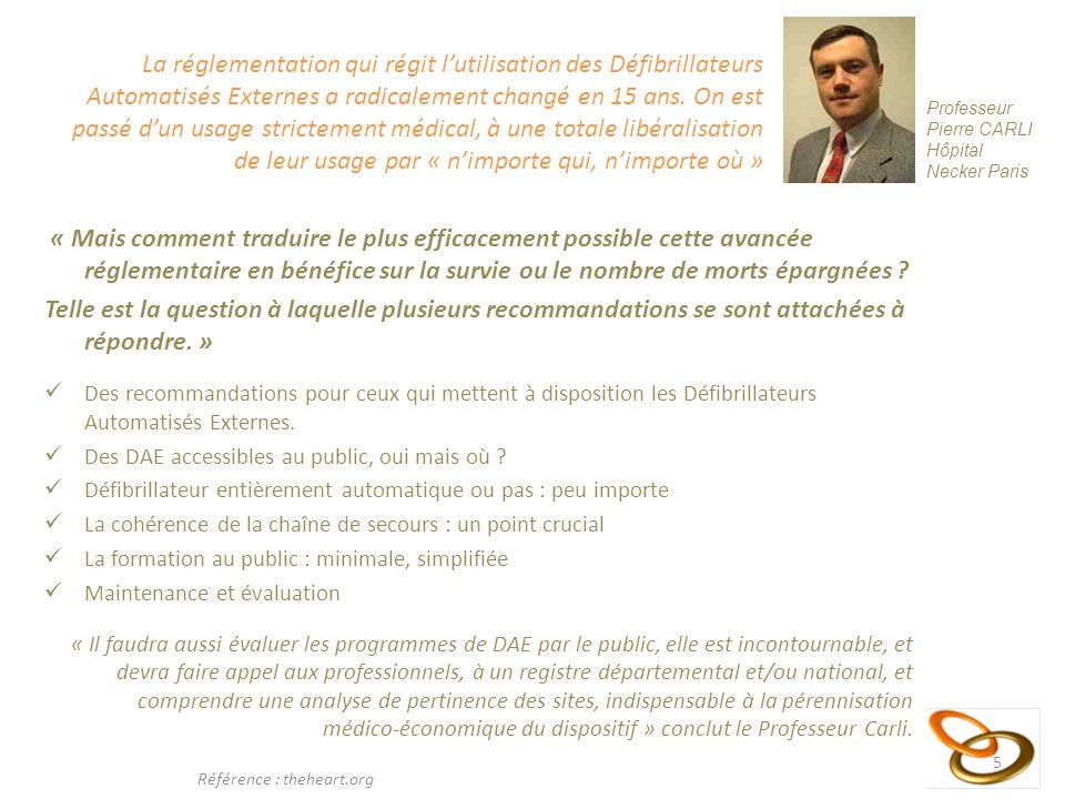 6 Les Recommandations du CFRC Recommandations du CFRC : Le CFRC (Conseil Français de Réanimation Cardio-pulmonaire) recommande que les programmes de DAE comprennent systématiquement une organisation de la maintenance du défibrillateur permettant de vérifier à intervalles réguliers le parfait état de fonctionnement des défibrillateurs.