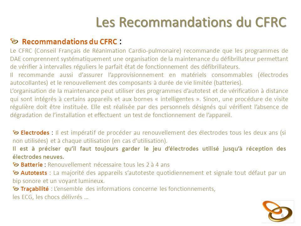 6 Les Recommandations du CFRC Recommandations du CFRC : Le CFRC (Conseil Français de Réanimation Cardio-pulmonaire) recommande que les programmes de D
