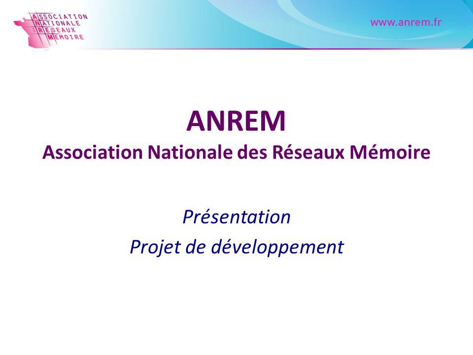 ANREM Association Nationale des Réseaux Mémoire Présentation Projet de développement