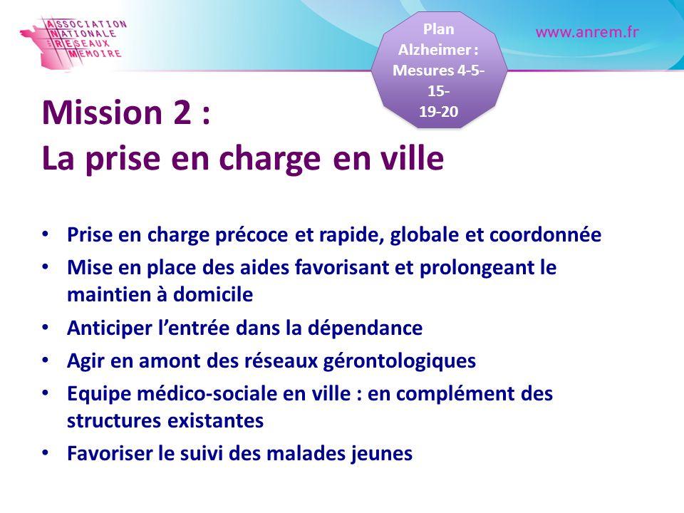 Mission 2 : La prise en charge en ville Prise en charge précoce et rapide, globale et coordonnée Mise en place des aides favorisant et prolongeant le