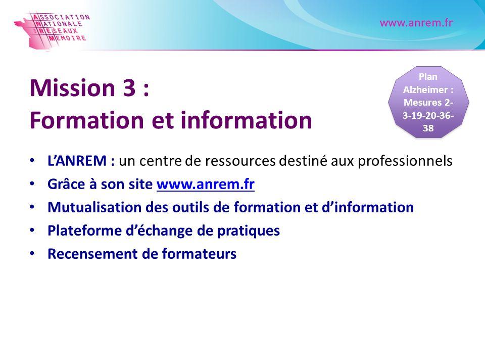Mission 3 : Formation et information LANREM : un centre de ressources destiné aux professionnels Grâce à son site www.anrem.frwww.anrem.fr Mutualisati