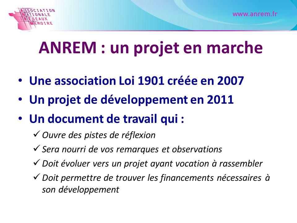 ANREM : un projet en marche Une association Loi 1901 créée en 2007 Un projet de développement en 2011 Un document de travail qui : Ouvre des pistes de