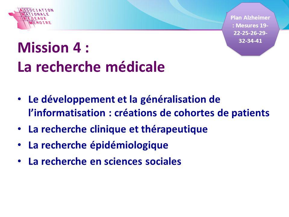 Mission 4 : La recherche médicale Le développement et la généralisation de linformatisation : créations de cohortes de patients La recherche clinique