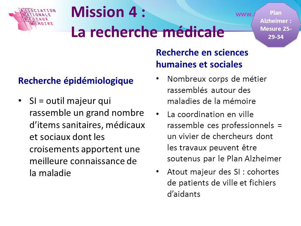 Mission 4 : La recherche médicale Recherche épidémiologique SI = outil majeur qui rassemble un grand nombre ditems sanitaires, médicaux et sociaux don