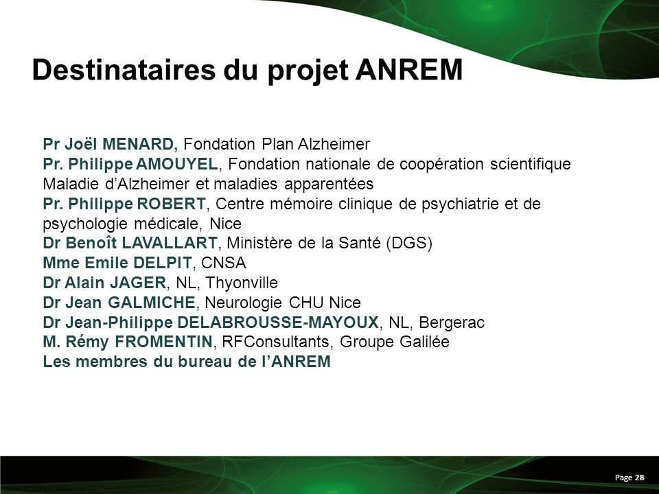 Page 28 Pr Joël MENARD, Fondation Plan Alzheimer Pr. Philippe AMOUYEL, Fondation nationale de coopération scientifique Maladie dAlzheimer et maladies