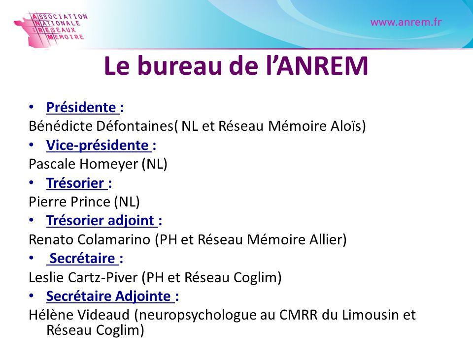 Le bureau de lANREM Présidente : Bénédicte Défontaines( NL et Réseau Mémoire Aloïs) Vice-présidente : Pascale Homeyer (NL) Trésorier : Pierre Prince (