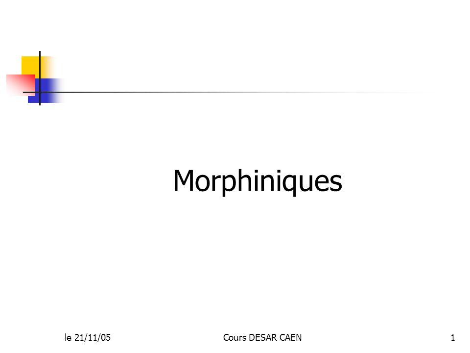 le 21/11/05Cours DESAR CAEN1 Morphiniques