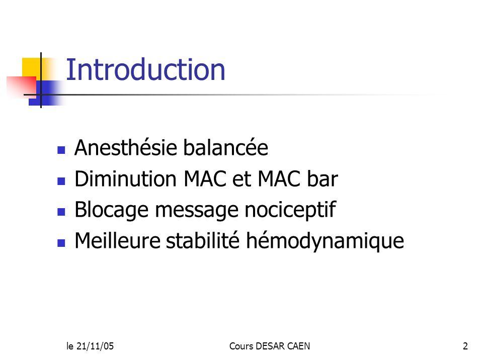 le 21/11/05Cours DESAR CAEN2 Introduction Anesthésie balancée Diminution MAC et MAC bar Blocage message nociceptif Meilleure stabilité hémodynamique